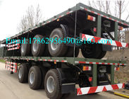 Three Alxes 40ft Heavy Duty Semi Trailers Flatbed Truck With 28 Tons Landing Gear